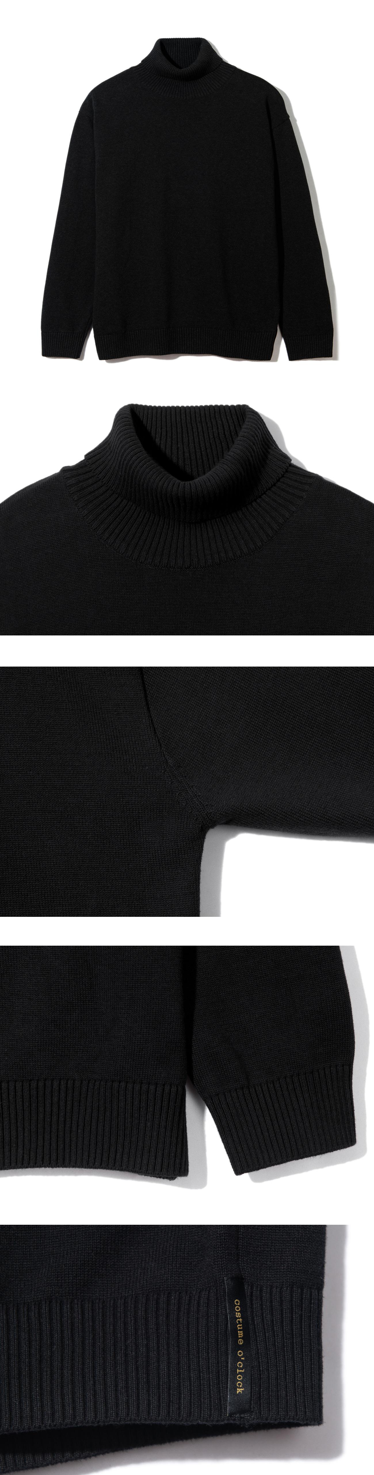 커스텀어클락(COSTUME O'CLOCK) 소프트 베이직 터틀넥 니트 블랙
