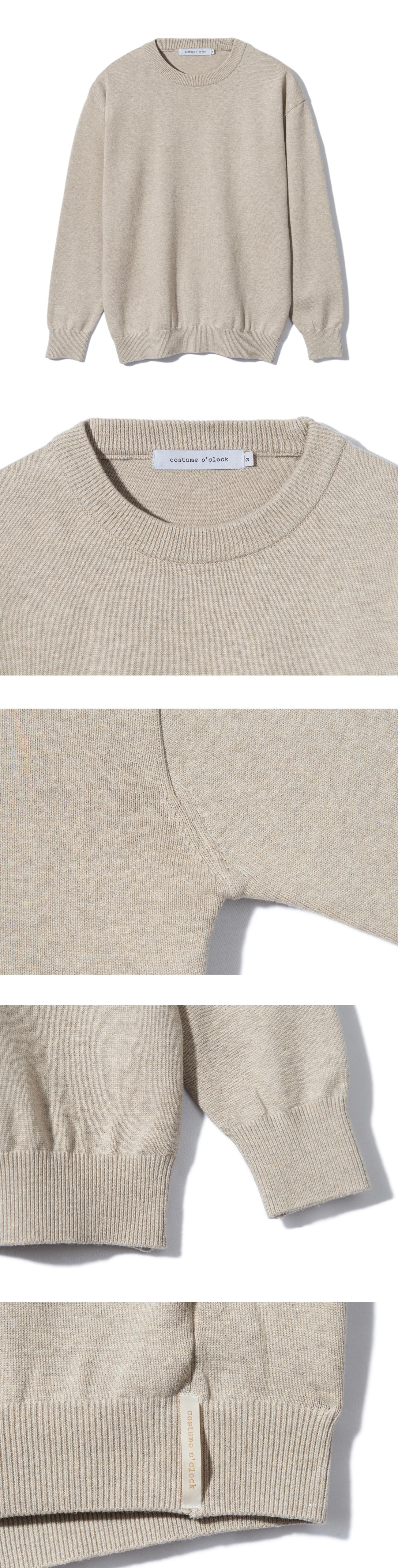 커스텀어클락(COSTUME O'CLOCK) 소프트 코튼 크루넥 니트 오트밀
