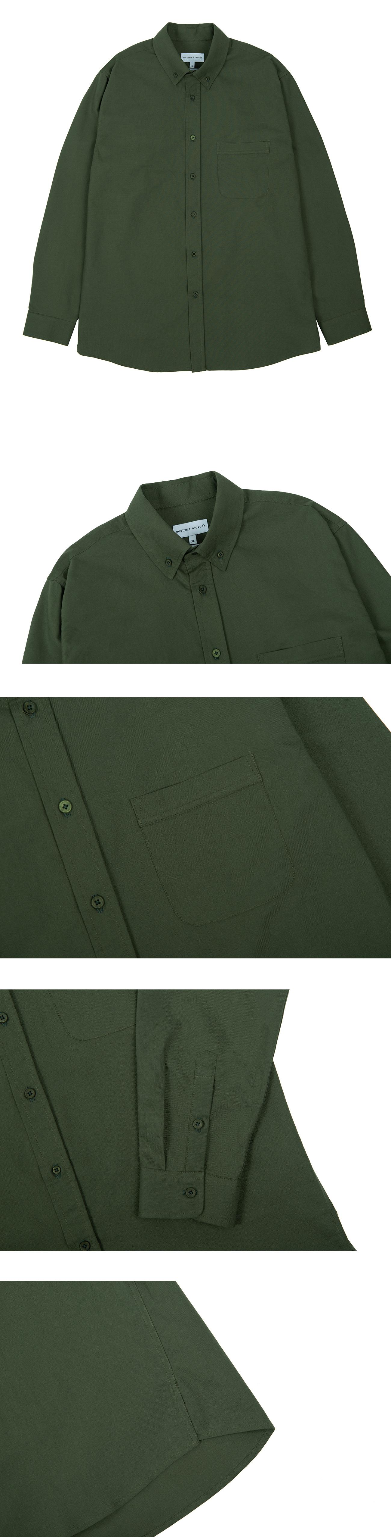 커스텀어클락(COSTUME O'CLOCK) 옥스포드 베이직 셔츠 카키