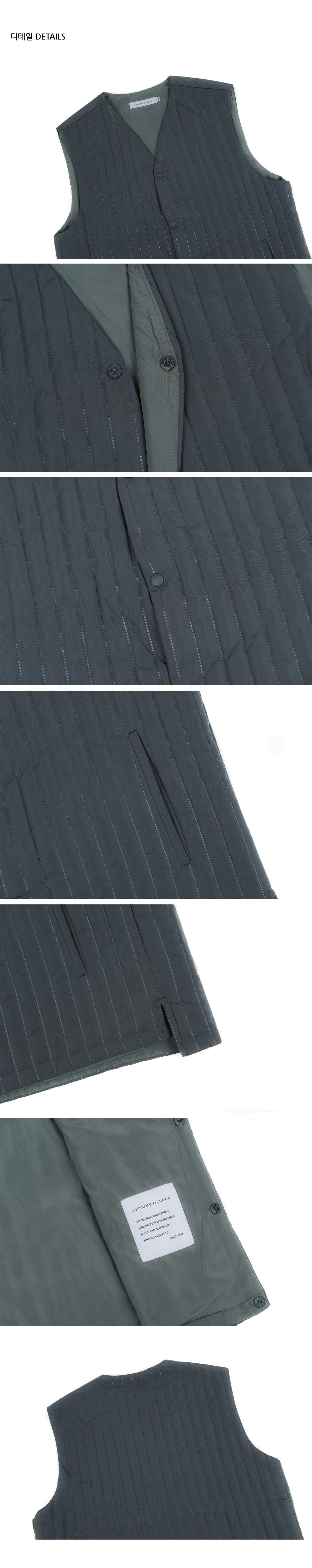커스텀어클락(COSTUME O'CLOCK) 에드히시브 퀼팅 스트라이프 패딩 베스트 그레이