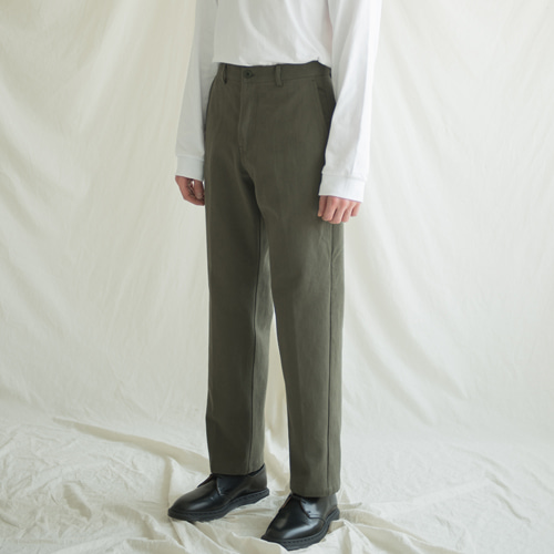 [커스텀어클락] 9th year BIO WASHING 2H LINE COTTON PANTS KHAKI