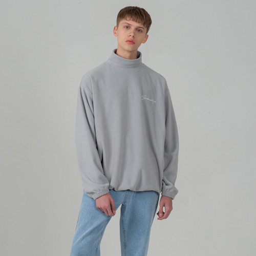 SECONDMONOLOGUE BASIC HIGH-NECK FLEECE GRAY