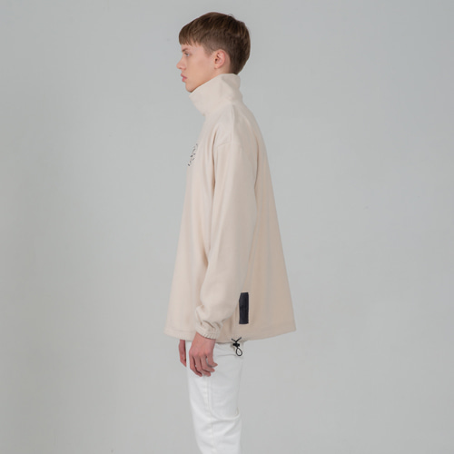 SECONDMONOLOGUE COCL LOGO FLEECE TURTLE-NECK IVORY