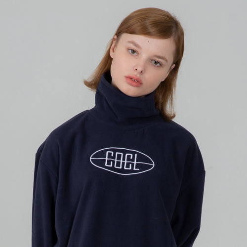 SECONDMONOLOGUE COCL LOGO FLEECE TURTLE-NECK NAVY
