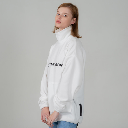 SECONDMONOLOGUE LOGO FLEECE TURTLE-NECK WHITE