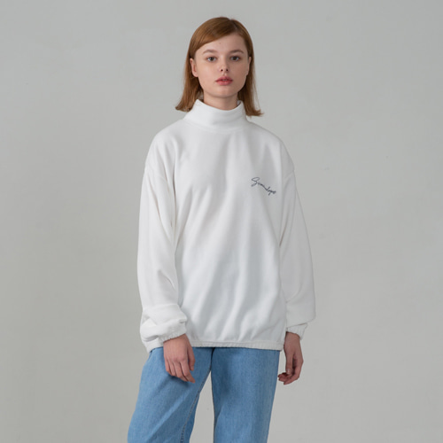 SECONDMONOLOGUE BASIC HIGH-NECK FLEECE WHITE
