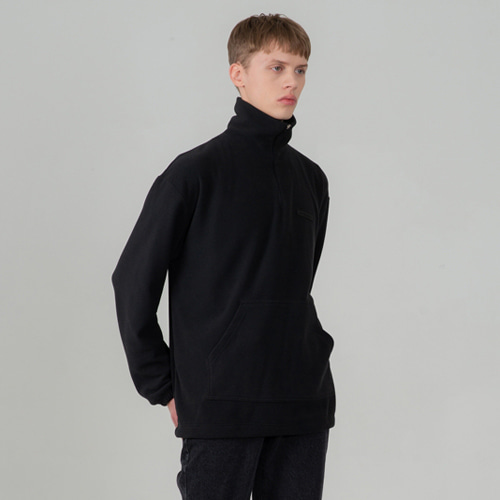 SECONDMONOLOGUE FLEECE ANORAK BLACK