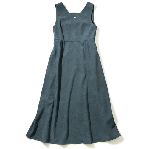 [몽돌] BACK STRAP PEACHSKIN DRESS S.BLUE