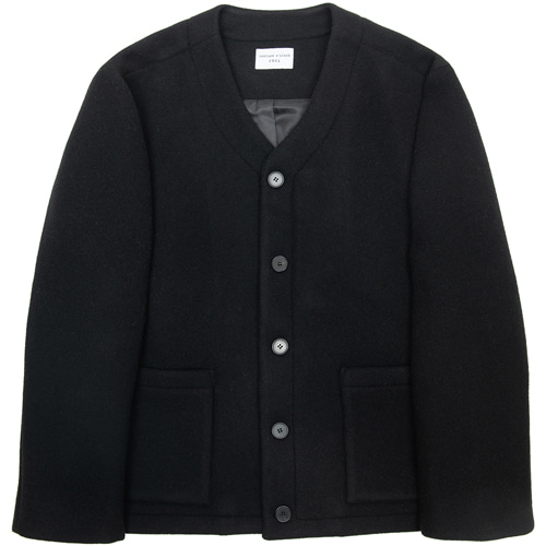 [커스텀어클락] CONTEMPORARY COLLARLESS JACKET BLACK