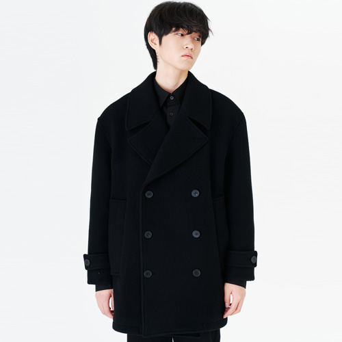 [커스텀어클락] 90s HEAVY WEIGHT WOOL PEA COAT BLACK
