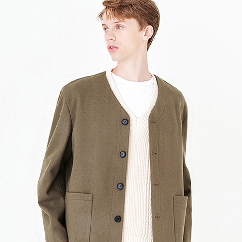 [커스텀어클락] CONTEMPORARY COLLARLESS JACKET L.BROWN