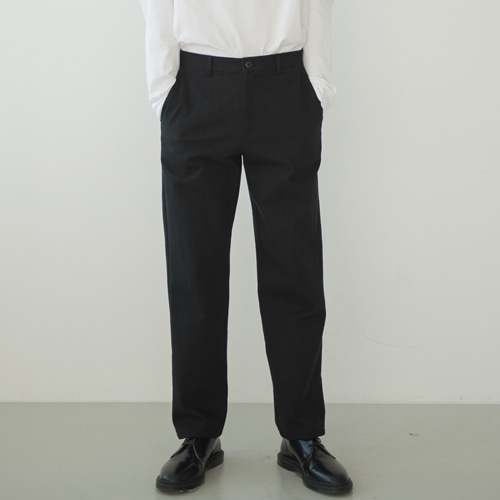 9th year BIO WASHING 2H LINE COTTON PANTS BLACK