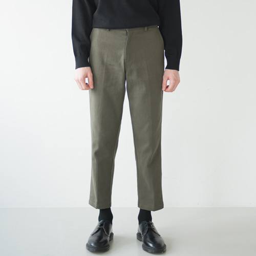 [커스텀어클락] 9th year BIO WASHING CROP COTTON PANTS KHAKI