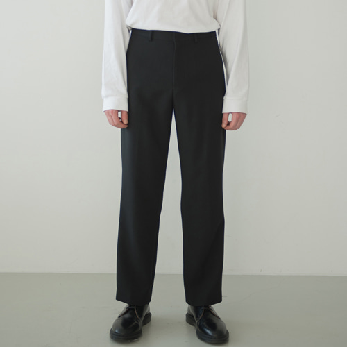9th year SOFT WIDE 2H LINE SLACKS BLACK