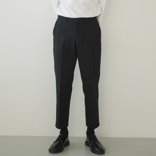 [커스텀어클락] 9th year BIO WASHING CROP COTTON PANTS BLACK