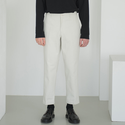 [커스텀어클락] 9th year BIO WASHING CROP COTTON PANTS L.BEIGE