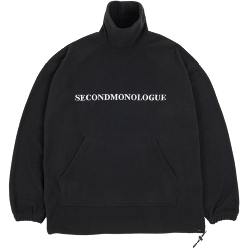 SECONDMONOLOGUE LOGO FLEECE TURTLE-NECK BLACK