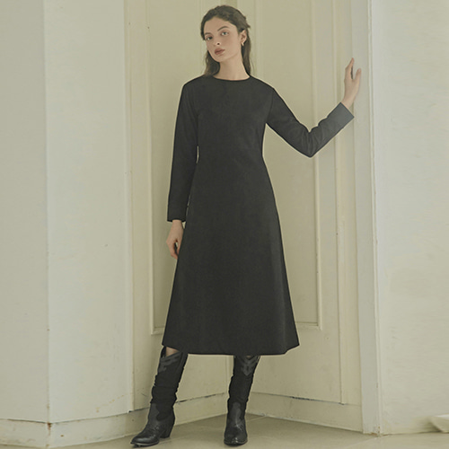 [몽돌] WOOL BASIC DAILY DRESS BLACK