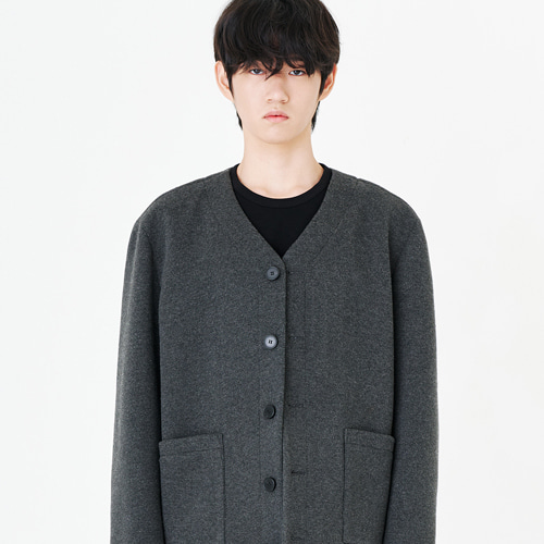 [커스텀어클락] CONTEMPORARY COLLARLESS JACKET CHARCOAL