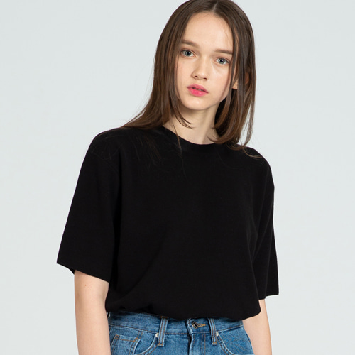 [커스텀어클락] COOL SOFT SHORT SLEEVE CREW NECK KNIT BLACK