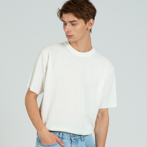 [커스텀어클락] COOL SOFT SHORT SLEEVE CREW NECK KNIT IVORY