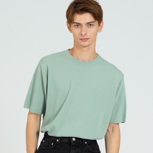 [커스텀어클락] COOL SOFT SHORT SLEEVE CREW NECK KNIT MINT