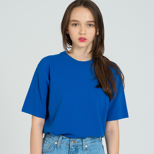 [커스텀어클락] COOL SOFT SHORT SLEEVE CREW NECK KNIT CO.BLUE