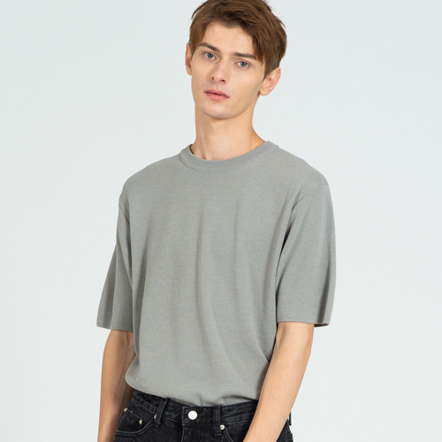 [커스텀어클락] COOL SOFT SHORT SLEEVE CREW NECK KNIT GRAY