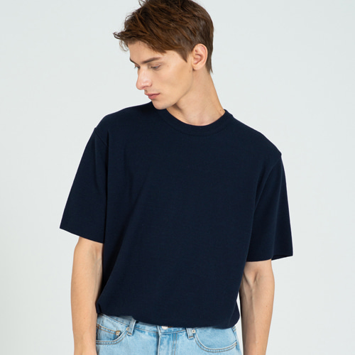 [커스텀어클락] COOL SOFT SHORT SLEEVE CREW NECK KNIT NAVY