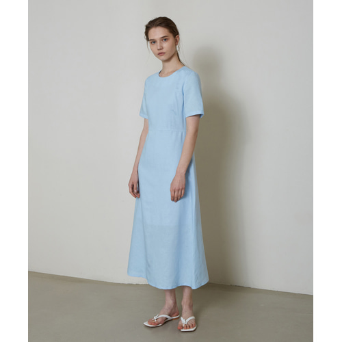 [몽돌] LINEN BASIC DAILY DRESS S.BLUE