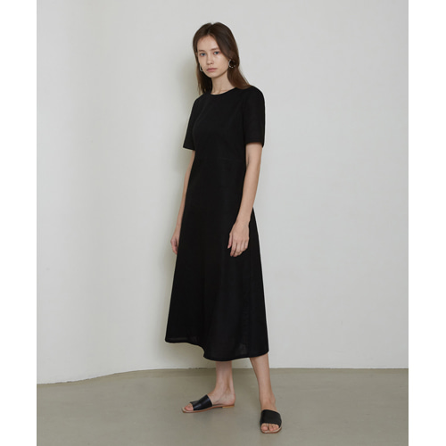 [몽돌] LINEN BASIC DAILY DRESS BLACK