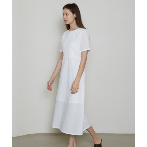 [몽돌] LINEN BASIC DAILY DRESS WHITE