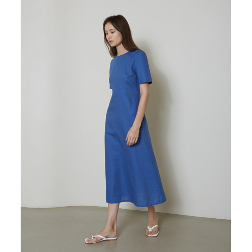 [몽돌] LINEN BASIC DAILY DRESS BLUE