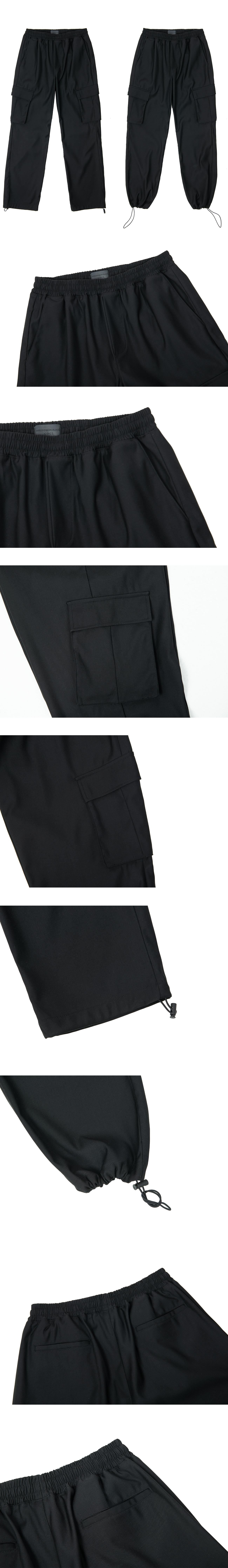 커스텀어클락(COSTUME O'CLOCK) 에센셜 카고포켓 와이드 2에이치 라인 팬츠 블랙